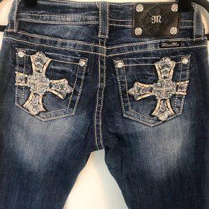 MissMe Blue Denim Jeans w/Celtic Cross
